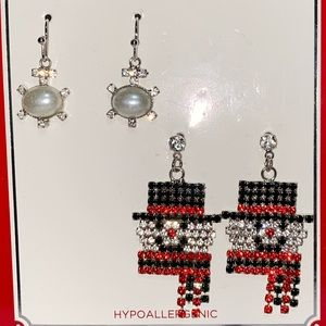 Hypoallergenic Snowman Snowflake Christmas Earring